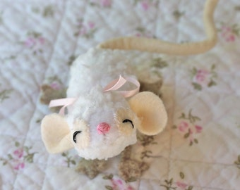 Toy Mouse, Tati Mouse, Mouse Stuffed Animal, White Baby Mouse, Handmade Mouse