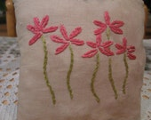 Pink Flowers Primitive Pillow, FAAP, OFG, HAFAIR