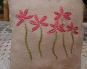 Pink Flowers Primitive Pillow, FAAP, OFG, HAFAIR
