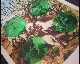 Vintage  Bottle Green Cut Glass Buttons