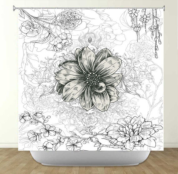 Vintage Black and White Flower Shower Curtain by WarpedByColors