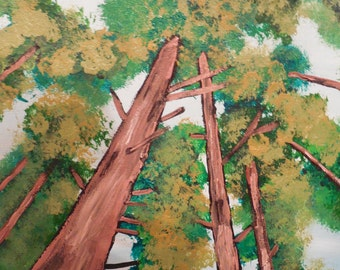 "Redwood Canopy (Original 11"" x 14"" Acrylic Painting)"