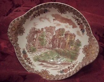 Antique English Castle Porcelain Bowl -  Brown & Richie - brown, green bowl