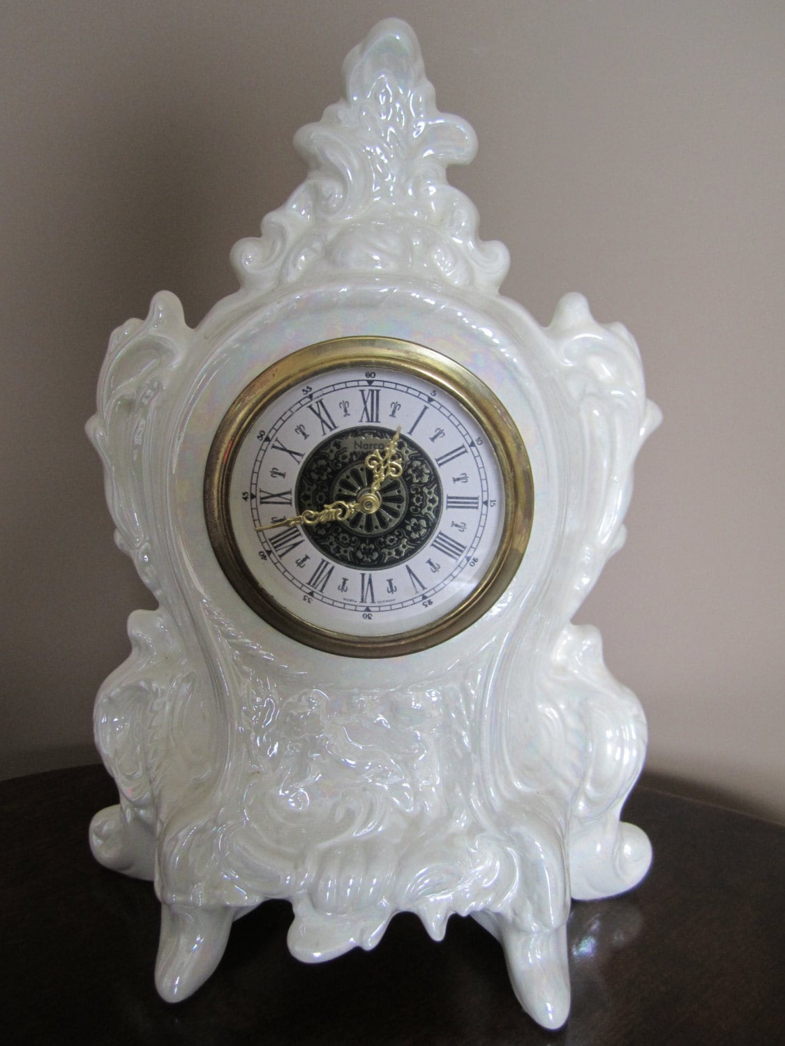 West Germany Narco Table Clock Circa 1978 White Porcelain