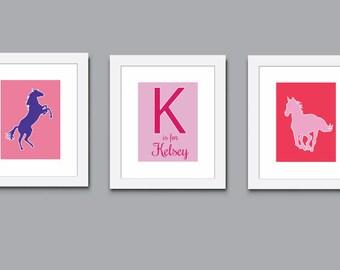 Horses Art Print, Childrens Art Print, Monogram Art Print, Wall Art, Kids Art Print 507