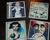 Spirit Themed Ceramic Coasters set of 4 felt backed Ouija Board Halloween Dark Decor
