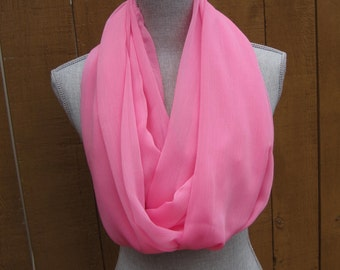 Fabric scarf, Infinity Scarf, Eternity Scarf, Loop Scarf, Tube Scarf in Pink