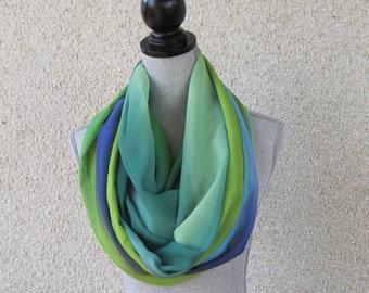 Fabric scarf, Infinity scarf, tube scarf, eternity scarf, loop scarf, long scarf in a chiffon fabric