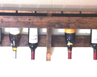 Reclaimed wood pallet wine rack with glass storage