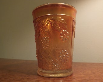 Marigold Carnival Glass Tumbler Floral and GrapePattern by Dugan Diamond
