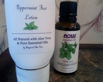 Cooling Peppermint Foot Lotion - 2 oz Bottle, Foot Therapy,  Foot Spa, Refresh, Revive and Energize your Tired Feet, Relaxing Foot Massage