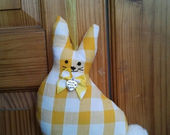 Hand made Yellow gingham check fabric Easter Bunny Rabbit hanging decoration