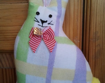 Hand made shades of pastel stripe Fabric Bunny Rabbit hanging decoration filled with home grown lavender
