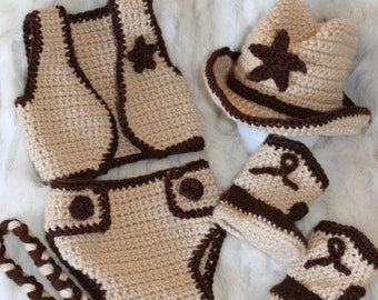 Crochet Baby Cowgirl Outfit Pattern Free : Popular items for crochet cowboy set on Etsy