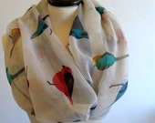 Birds print infinity scarf, circle scarf, print scarf, scarf women, eternity scarf, cowl scarf, infinity tube scarf