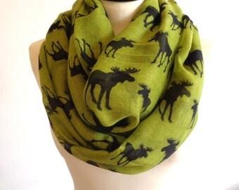 Moose print infinity scarf, cute scarf, green scarf, moose scarf, elk scarf, print scarf women