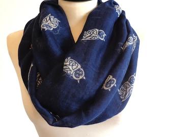 Owls print infinity scarf, spring scarf, owl scarf, print scarf women, loop scarf, navy blue scarf