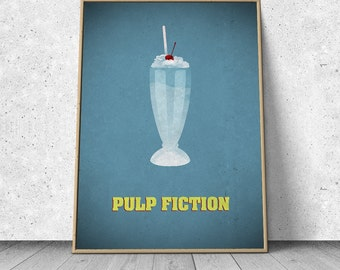 Pulp Fiction, Quentin Tarantino, alternative minimalist movie poster, giclee art print, A3