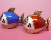 Sterling Silver Enamel Novelty Fish Salt Pepper , Condiments, Cruets, Novelty, Tableware, Aquatic, 925 SNM, REF:179T