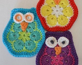 Crochet pattern owl / crochet pattern african flower owl