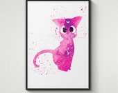 Luna, Sailor Moon, Alternative Poster, Watercolor Painting, Archival Fine Art, Home Wall Decor, Giclee Print,