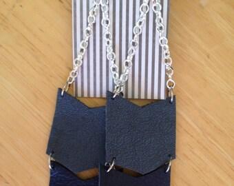 Blue Leather Chevron dangle earrings
