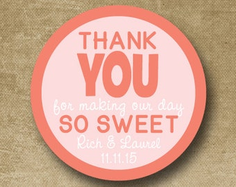 Personalized Wedding Stickers, Wedding Favor Tags, Custom Wedding Labels, Candy Buffet Stickers, Round wedding labels, Making our day sweet