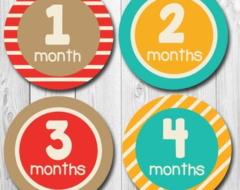 Baby Month Stickers, Boy monthly stickers, bodysuit stickers for boys, milestone month stickers, boy month stickers
