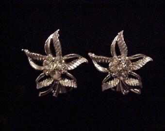 Flower~Shape Silver Clip-On Earrings