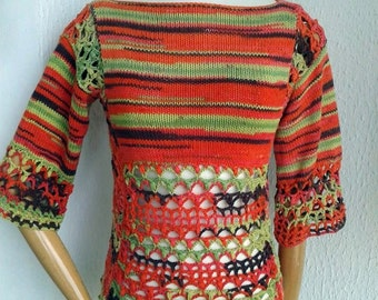 pull was female, orange, anise, Brown, cotton, made crochet and knitting