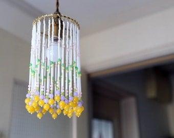 Glass beaded pendant light shade - 04