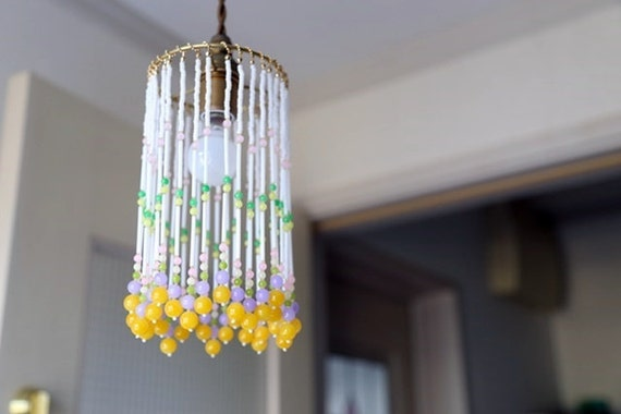 glass beaded pendant light shade 04 by coconlondon on etsy
