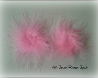 "Set of 2, Marabou Feather Puff, Light Pink, Feather Puff, DIY, Headband, Supply, Accessories, 3""-3.5""                '"