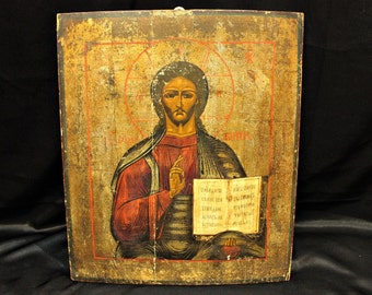 Antique original perfect hand painted russian icon
