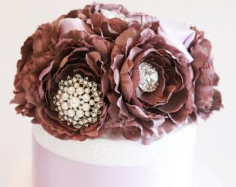 Pastel Burgundy Wedding Cake Topper -Rhinestone and Pearls, Wedding centerpieces, Pastel Wedding Decorations