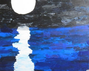 """At Night. 20""""x20"""" pallet knife painting."""