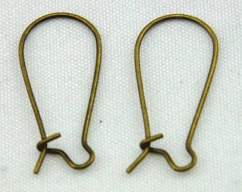 French Earwire -100pcs Antique Bronze Kidney Earwires Earring Findings ----11*24mm---E0016