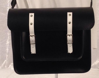 Black & White Leather Satchel