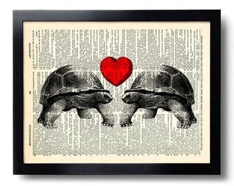Turtle Love Heart Art Print Love Art Print on Book Page, Love Poster, Love Heart Anniversary Gift, Present for Girlfriend, Wedding Gift 222
