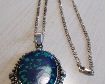 Large Mexican Block Malachite Azurite Sterling Silver Pendant on Chain