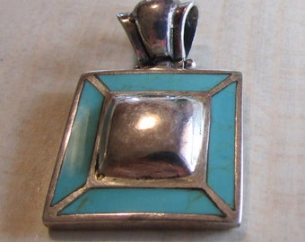 Sterling Silver and Block Turquoise Square Pendant