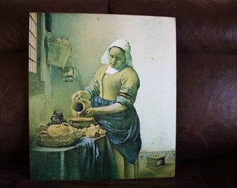 The Milkmaid painting (Johannes Vermeer) mounted on a wooden frame -very rare 60s-70s