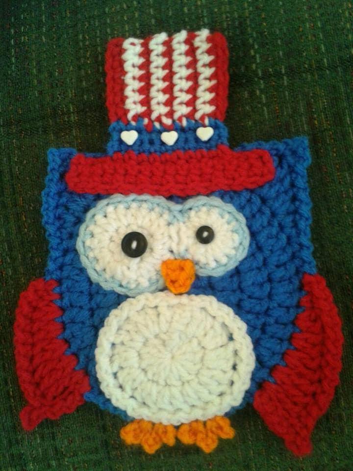 Crochet Owl 4th of july Potholder pattern only