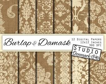 Burlap & Damask Digital Paper - White Damask Burlap Digital Paper - 12 Designs - Commercial Use - 12x12in 300 dpi jpg - Instant Download