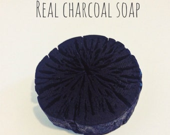 Bamboo Charcoal Soap in real charcoal shape. Oily skin's favourite cleansing bar. 2 charcoal as a set