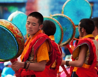 20% SALE Dancing monks, Sakya monastery, Tibet, drums, Buddhist ceremony, travel photography, 8x10, wall art