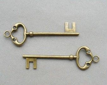 10 PCS Elegant Vintage Style Antique bronze Key Charm Pendant 25x80mm