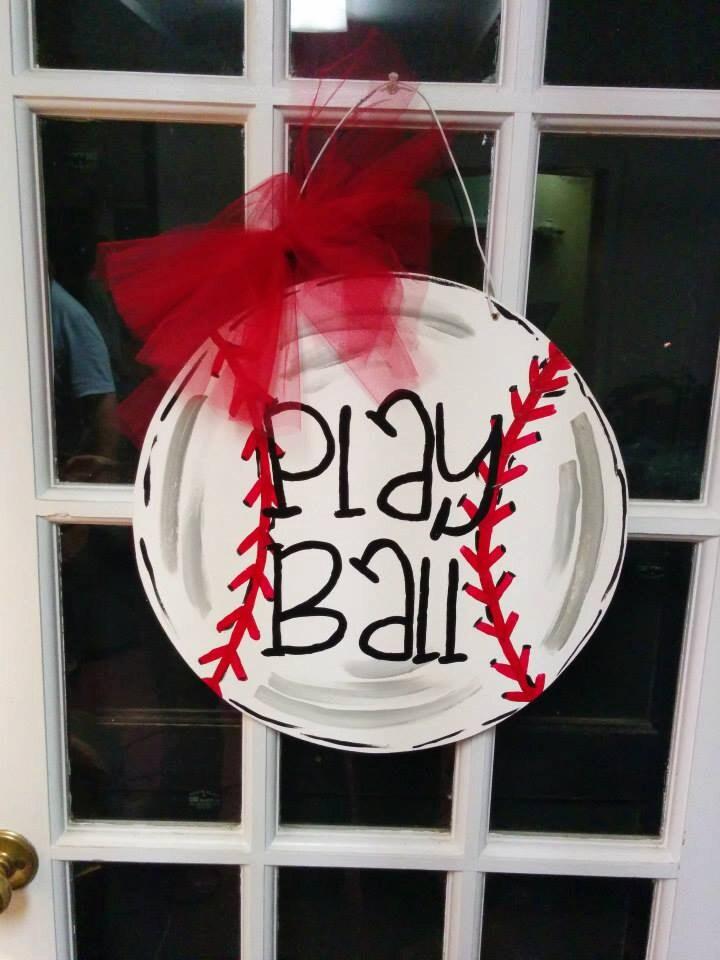 Play Ball Baseball Door Hanger