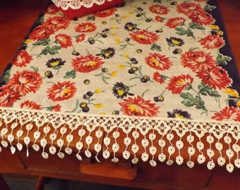 "Table Runner, Vintage Linen, 17""x72"", Red, White, Blue and Yellow, Americana"