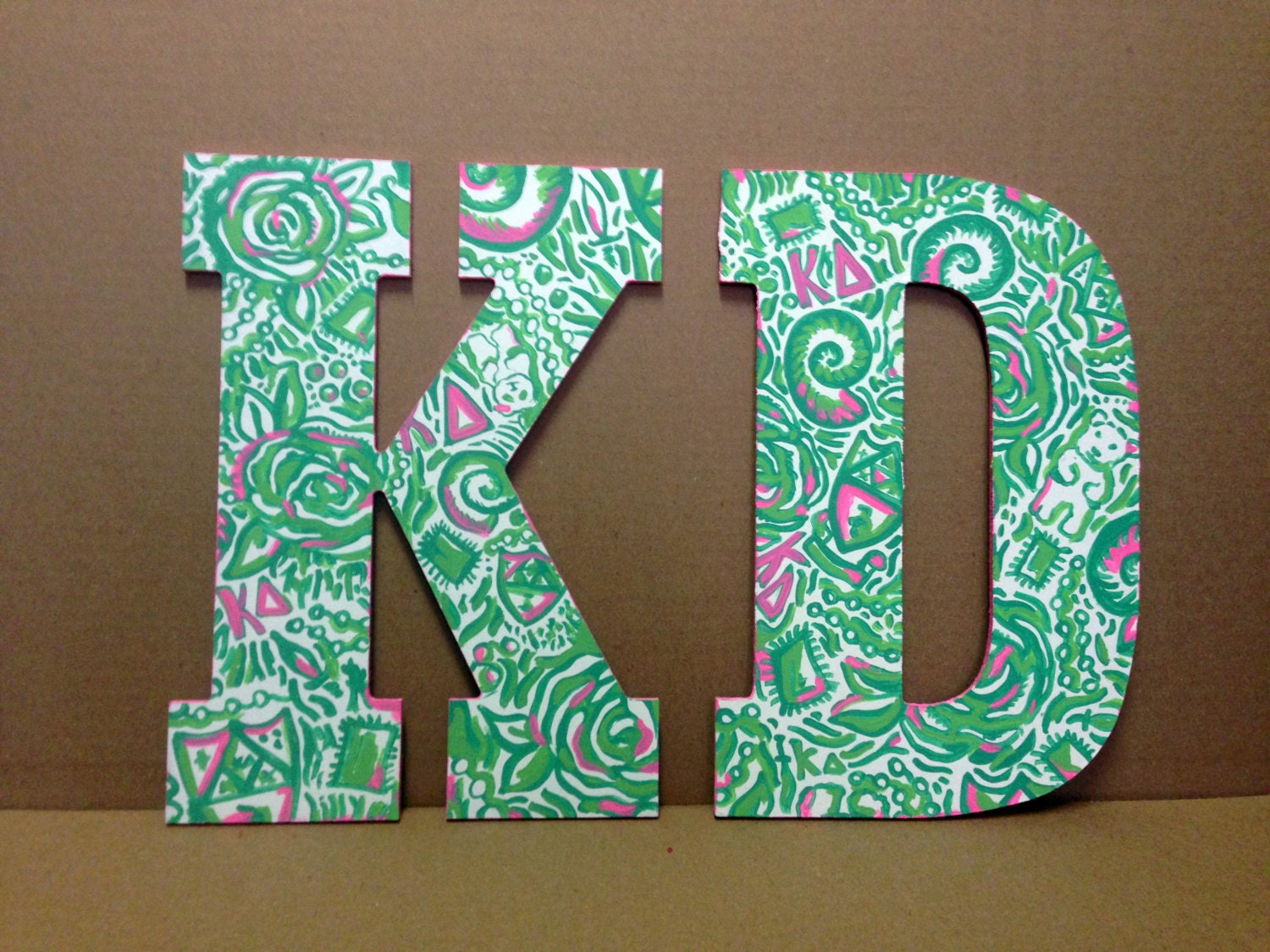 lilly pulitzer greek letters two lilly pulitzer painted wooden letters in 14 inches 23448 | il fullxfull.617005795 k824